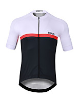 cheap -CAWANFLY Men's Short Sleeve Cycling Jersey Black / White Bike Jersey Top Mountain Bike MTB Road Bike Cycling Quick Dry Sports Clothing Apparel / Stretchy
