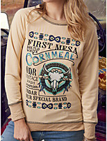 cheap -Women's T-shirt Graphic Prints Long Sleeve Print Round Neck Tops Loose Basic Basic Top Blue Purple Red