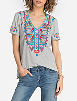 cheap -Women's Blouse Shirt Graphic Prints Embroidered V Neck Tops Loose Basic Boho Basic Top Red Gray