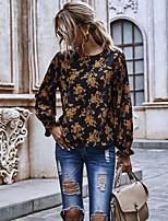 cheap -Women's Blouse Shirt Graphic Prints Long Sleeve Print Round Neck Tops Loose Basic Basic Top Black