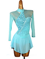 cheap -Figure Skating Dress Women's Girls' Ice Skating Dress Sky Blue Open Back Patchwork High Elasticity Training Competition Skating Wear Handmade Crystal / Rhinestone Long Sleeve Ice Skating Winter