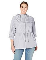 cheap -women's plus size packable anorak jacket, pearl grey/white, 1x