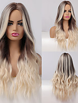 cheap -Synthetic Wig Curly Body Wave Middle Part Side Part Wig Very Long Ombre Blonde Synthetic Hair 26 inch Women's Cosplay Party Fashion Blonde BLONDE UNICORN