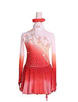 cheap -Figure Skating Dress Women's Girls' Ice Skating Dress Red / White Glitter Patchwork Spandex High Elasticity Competition Skating Wear Handmade Crystal / Rhinestone Long Sleeve Ice Skating Winter