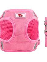 cheap -Dog Cat Harness Leash Portable Vest Anti Lost Outdoor Solid Colored Polyester Husky Labrador Alaskan Malamute Golden Retriever Border Collie Shiba Inu Red Pink 1 set