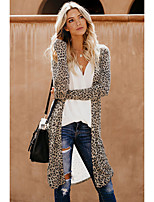 cheap -Women's Stylish Knitted Leopard Cheetah Print Cardigan Long Sleeve Sweater Cardigans Open Front Fall Winter Silver Brown Gray