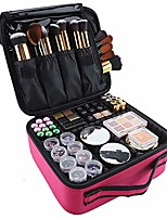 cheap -makeup case travel cosmetic bag 10.4 inches professional cosmetic brush organizer bag with adjustable divider storage case for girl and women (rose red)