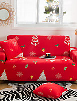 cheap -Christmas Tree Printed Red Sofa Cover Stretch Couch Cover Sofa Slipcovers for 1~4 Cushion Couch with One Free Pillow Case for Christmas Decoration