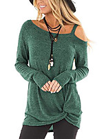 cheap -women's cold shoulder tops long sleeve casual fashion knot twist front tunic blouse t-shirts