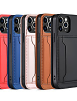 cheap -Case For Apple iPhone 12 / iPhone 12 Mini / iPhone 12 Pro Max Card Holder / Shockproof / Dustproof Full Body Cases Solid Colored PU Leather