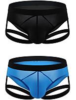 cheap -Men's 2 Piece Basic Briefs Underwear - Normal Low Waist Multi color M L XL