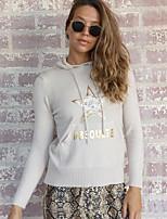 cheap -Women's Geometric Letter Pullover Long Sleeve Sweater Cardigans Hooded Fall Winter Beige