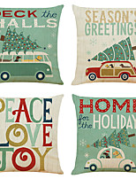cheap -Set of 4 Christmas holiday Linen Square Decorative Throw Pillow Cases Sofa Cushion Covers 18x18
