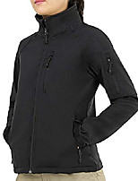 cheap -women's outdoor softshell jacket full zip tactical jacket with fleece lined,8 pockets windproof water resistant, black, m