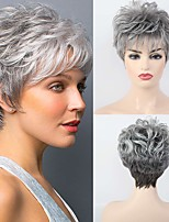 cheap -Human Hair Blend Wig Short Classic Pixie Cut With Bangs Dark Gray Women Comfortable Exquisite Capless Women's Grey