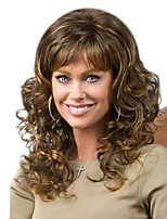 cheap -Synthetic Wig Curly With Bangs Wig Long Dark Brown Synthetic Hair Women's Fashionable Design Color Gradient Fluffy Dark Brown