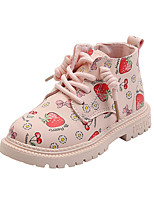 cheap -Girls' Boots Combat Boots PU Little Kids(4-7ys) Walking Shoes Pink / Beige Fall / Winter / Booties / Ankle Boots