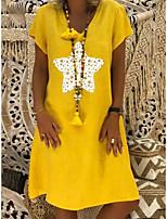 cheap -Women's Shift Dress Knee Length Dress - Short Sleeve Print Patchwork Print Summer V Neck Work Casual Cotton Loose 2020 Yellow Brown Gray S M L XL XXL 3XL 4XL 5XL
