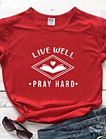 cheap -Women's T-shirt Heart Letter Print Round Neck Tops 100% Cotton Basic Basic Top White Purple Red
