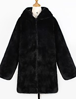 cheap -Women's Fall & Winter Open Front Coat Long Solid Colored Daily Basic Faux Fur Black S M L XL / Loose