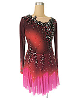 cheap -Figure Skating Dress Women's Girls' Ice Skating Dress Red Glitter Patchwork Spandex High Elasticity Competition Skating Wear Handmade Crystal / Rhinestone Long Sleeve Ice Skating Figure Skating