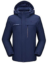 cheap -men's mountain snow waterproof ski jacket detachable hood windproof fleece parka rain jacket winter coat (dark blue, small)