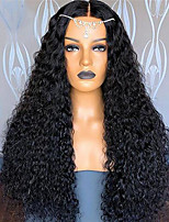 cheap -Synthetic Wig Afro Curly Middle Part Wig Long Very Long Wine Red Black Synthetic Hair 65 inch Women's Party Middle Part Fluffy Black