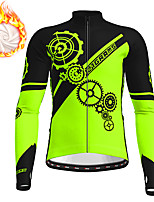 cheap -21Grams Men's Long Sleeve Cycling Jacket Winter Fleece Polyester White Blue Orange Gear Funny Bike Jacket Top Mountain Bike MTB Road Bike Cycling Thermal Warm Fleece Lining Breathable Sports Clothing