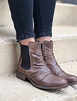 cheap -Women's Boots Block Heel Round Toe Classic Daily Solid Colored PU Booties / Ankle Boots Black / Burgundy / Brown