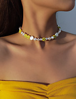 cheap -Women's White Choker Necklace Necklace Beads Face European Cute Hip Hop Imitation Pearl White 21-50 cm Necklace Jewelry 1pc For Wedding Street Gift Prom Festival / Pearl Necklace