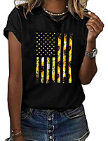 cheap -women's cute sunflower graphic t shirts letter print short sleeve o neck summer casual cotton tees tops (zzz-black, x-large)