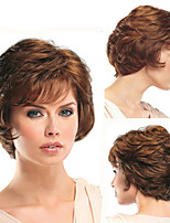cheap -Synthetic Wig Curly With Bangs Wig Short Brown Synthetic Hair Women's Soft Romantic Fluffy Brown