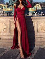 cheap -A-Line Minimalist Sexy Wedding Guest Formal Evening Dress V Neck Long Sleeve Sweep / Brush Train Satin with Split 2020