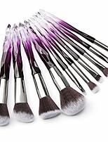 cheap -makeup brushes crystal handle set,  10 pcs crystal transparent handle kabuki powder foundation brush concealer eye shadow eyeliner eyebrow brush & #40;green& #41; & #40;purple& #41;