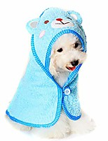 cheap -pet - kate hooded bath towel 2-piece set for small dogs and cats - color: white and blue, size: s