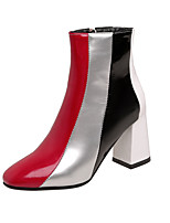cheap -Women's Boots Block Heel Boots Block Heel Round Toe Booties Ankle Boots Sexy British Wedding Party & Evening PU Color Block White / Silver / Mid-Calf Boots