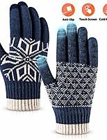 cheap -winter gloves touch screen warm knit gloves, soft wool lining elastic cuff, anti-slip rubber design warm gloves for men women(blue, onesize)