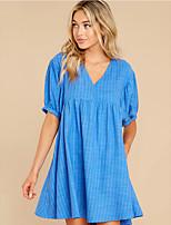 cheap -Women's Swing Dress Short Mini Dress - Half Sleeve Leopard Print Summer V Neck Casual Loose 2020 Blue Blushing Pink S M L