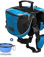 cheap -polyester dog saddlebags pack hound travel camping hiking backpack saddle bag for small medium large dogs with collapsible pet food bowl (l, blue+bowl)