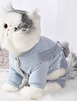 cheap -Dog Cat Coat Jumpsuit Character Casual / Sporty Fashion Casual / Daily Winter Dog Clothes Breathable Blue Pink Costume Cotton S M L XL XXL