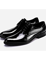 cheap -Men's Oxfords Business / Casual Office & Career Leather Breathable Wear Proof Wine / Black Summer / Fall