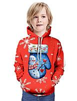 cheap -Kids Boys' Basic Snowman Christmas Long Sleeve Hoodie & Sweatshirt Red