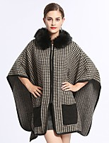 cheap -Women's Fall & Winter Zipper Cloak / Capes Regular Houndstooth Daily Basic Fur Trim Black One-Size / Loose / Batwing Sleeve