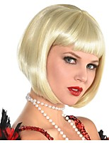 cheap -Cosplay Wig Blonde Flapper Straight Bob Wig Short Blonde Synthetic Hair Women's Anime Cosplay Exquisite Blonde