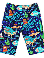 cheap -boys swim trunks seamless soft polyester breathable drawstring jammer swimsuit 4-6t penguin deep blue