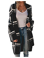 cheap -Women's Basic Long Knitted Check Cardigan Long Sleeve Sweater Cardigans Open Front Spring Fall Black