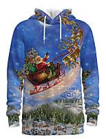 cheap -Daddy and Me Basic Santa Claus 3D Print Animal Print Long Sleeve Regular Hoodie & Sweatshirt Blue