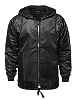 cheap -casual solid color zipper detail waterproof windbreaker black 3xl