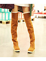 cheap -Women's Boots Flat Heel Round Toe Casual Basic Daily Solid Colored PU Over The Knee Boots Walking Shoes Black / Yellow / Brown