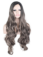 cheap -Synthetic Wig Curly Body Wave Pixie Cut Wig Long Black / White Synthetic Hair 32 inch Women's Fashionable Design Soft Party Black White